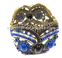 vintage fabulous dark electic blue resin rhinestone spring bangles antique bronze plated