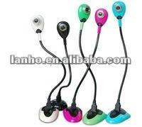 free driver Colorful flexible snake shape USB webcam ZU373