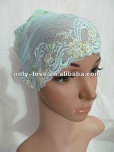 new styles lace beading muslim underscarf hijab hats TT075