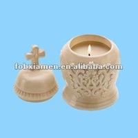 Ceramic votive cross candle pot holder