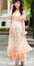 Lady Style Flower Printed Lotus Leaf Layers Long Dress Orange BJ12062410