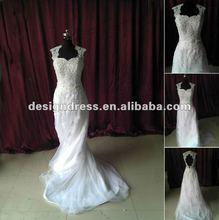 Classic style mermaid lace wedding dress keyhole back 2012 new arrival SW86