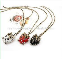 Korea fashion jewelry flash diamond owl sweater necklace