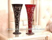 Crackle Red & Black Mosaic Flower Vase For Home Decoration