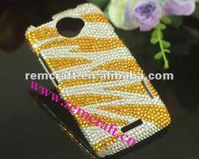 2012 fashion golden zebra crystal case for HTC one X