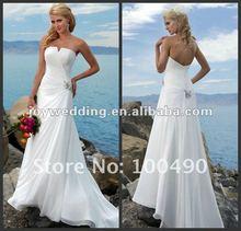 N118 pleat ruched vintage chiffon sexy summer beach bridal wedding gown 2012