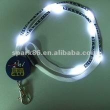 flashing led lanyard w/logo for xmas promo(8white leds,45*1cm,switch on/off, nylon,3 flash modes, RoHS approval)