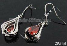 2012 hot selling zircon earrings with copper base red approx earring 35mm long zircon 12mm in diameter