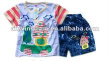 2012 fashion cartoon T-shirt and shorts children set