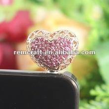 2012 lovely heart dustproof stopper for cell phone