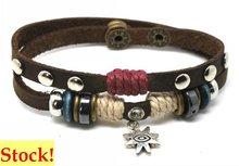 Promotional 2012 fashion leather silver bracelet