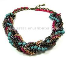 statement art deco braided stone bead chain rhinestone necklace gun black plated