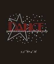 2012 lastest motif iron on rhinestone designs dance in star for apparel hot sale