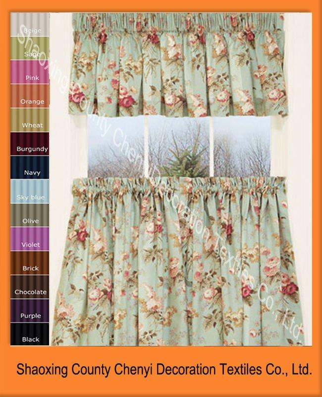 New garden floral tier kitchen design curtain