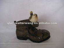 Promotional resin bird on shoe planter garden decoration