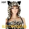 sexy schoolgirl mini skirt Leopard Pattern adult plush animal costume