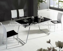 Popular home furniture glass dining room table and chairs dining set