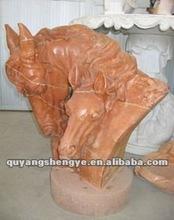 Stone head horse sculpture