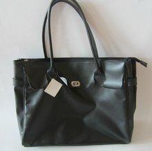 black elegant soft PVC handbag