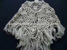 2012 Fancy Unique New Design Children Girls' Hand Crochet Shawl (KCC-PJ007/white)