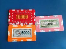 Printing Casino Chip/Rectangular Sticker Poker Chip with Vlaue