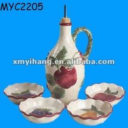 Hand painted ceramic oil cruet