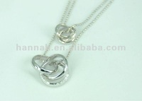 Double Necklace with Gorgeous Interlocking Rings Pendant (Item: 12370)