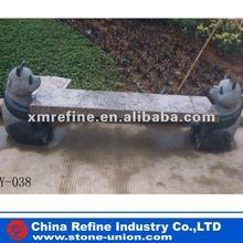 Granite stone bench with panda carving