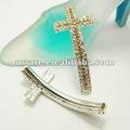 Argento 3- file cristallo strass lateralmente croce per braccialetto