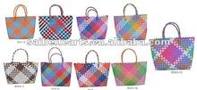 wholesale hand weaving PP plastic woven beach bag