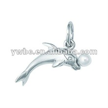 Cute Rhodium plated dolphin with pearl ball charm(H102337)