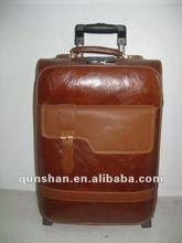 top grade PU trolley luggage for gentleman &laptop bag