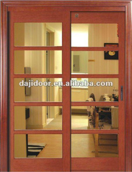 Doble interiores de madera de cristal corredera puertas for Puertas de madera y cristal para interiores