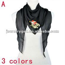 2012 lady scarf new design, skull printing summer triangle scarf, NL-1857