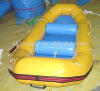 yellow inflatable raft boat