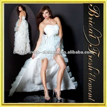 Organza Sweetheart Ruffled Short Front Long Back Off White Prom Dresses