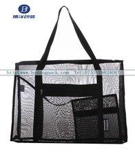 black mesh shoulder bag for shopping