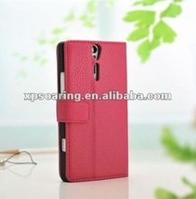 litchi leather case with card insert for Sony-Ericsson Xperia S LT26i