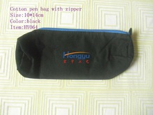Black cotton wallet or pen bag with zipper and handle