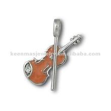 Mini violin enamel silver pendant ,fashion solid 925 sterling silver exposy jewelry