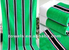 100%cotton cut velvet jacquard color strip wholesale beach towel fabric