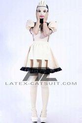 Cute latex maid dress with hood,100% hand made