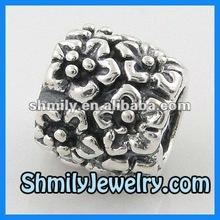 Oxidised Flowers 925 Silver Ball Beads,BAS76-2