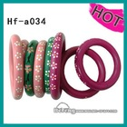 fashion flower painted wooden bangles