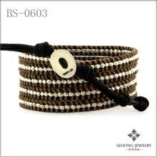 Nugget Mix Wrap Bracelet On Dark Brown Leather