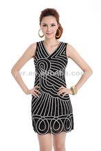 2012 fashion hand-stitched stripes vest dress