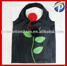 Round Handle Rose shopping bag Black