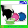 Portable silicon plastic folding bowl for pet dog