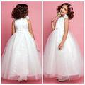 Zyc2015 col bateau sans manches, fleurs blanches tulle robe de bal princesse robes fille fleur 2014