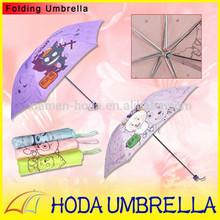 Famous Cartoon Printing 3 Folding Umbrella Rain For Children Design